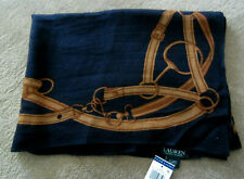 RALPH LAUREN Women's Equestrian Black Brown Oblong Wool Scarf  Authentic! NWT