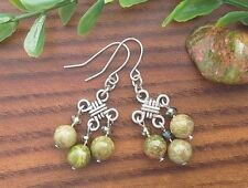 Green Olive UNAKITE Gemstone On Chinese Lucky Knot Dangle Earrings ~ Feng Shui