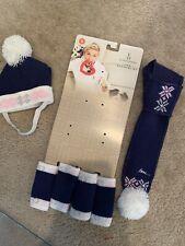 Ellen DeGeneres Navy with pink & white Hat, 4 Leg Warmers & Neck Scarf S