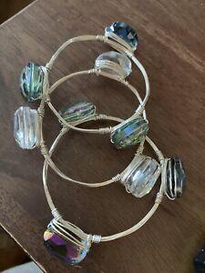 Bourbon And Bowties Bracelet Set Of 3 Silver Tone Crystal Bangle