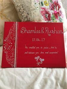 Islamic Canvas PERSONALISED wedding/engagement/Walimah Gift-Wall Art-Frame RED
