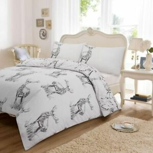 Wild Stag Grey Bedding Duvet Cover Set With Pillowcases Double Size