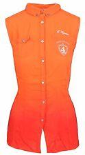 L' ARGENTINA Damen Bluse Women Shirt Größe 38 M Ärmellos 100% Viskose Orange Rot