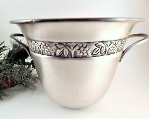 Ice Bucket Wine Champagne Bottle Cooler Vintage Pewter Pottery Barn Home Barware