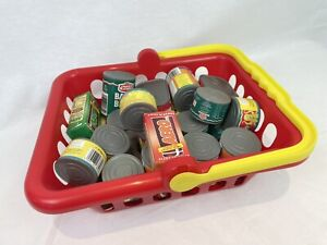 Plastic Children's Shopping Basket with Vintage Food Role Play Kids Toy Fun M820