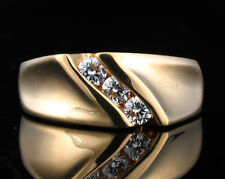 ZALES DESIGNER SIGNED NATURAL DIAMOND WEDDING RIGHT HAND 14K GOLD BAND RING