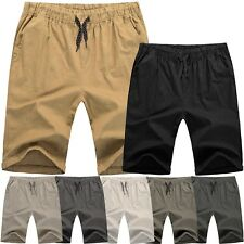 Mens Cotton SHORTS Flat Front Summer Casual Twill Classic Slim Fit Beach Light