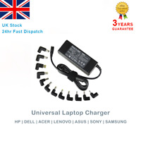 Universal Laptop Charger 90W AC Power Adapter Charger Multi Connectors + UK Plug