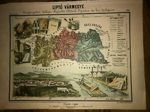 1880 Liptó vármegye Liptov Liptow MAP illustrated RARE EDITION Hungary Slovakia