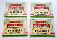 Set of 4 Green Mountain Packing Preserves Raspberry Jelly Bottle Label NOS 1970s