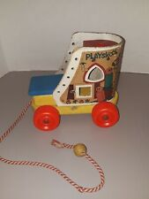 Vintage Collectible Pull Toy Old Lady in the Shoe Wooden Wheels 1960's