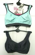 M&S Ladies Sports Bras x2 Pair High Impact Non Wired Multiway BNWT Marks