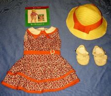 American Girl Kit Scooter Outfit with Orange Floral Tiered Dress, Hat, Shoes!