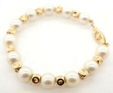 14K yellow gold elegant high fashion 8.3mm pearl & fancy bead bracelet