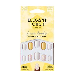 Elegant Touch 24 x CRAZY FOR DAISIES False Nail Tips & Glue Moisture Free
