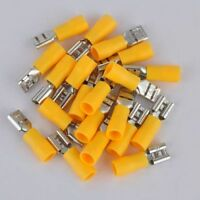 50pcs 10-12 AWG Insulated Female Spade Wire Crimp Terminal Connector Yellow