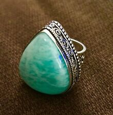 Summer Breeze Amazonite Cabochon Handmade Ring Size 8.5