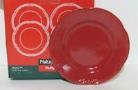 "Pfaltzgraff Winterberry   Ruby Red  8"" Salad Plates  Set of 4   NIB  Free Ship"
