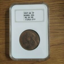More details for 1897 great britain britannia large copper penny ngc ms64 rb