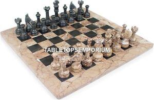 "15"" Modern Marble Chess Table Top Handmade Inlaid Design Decor Restaurant H4567"