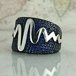 Pulse Solid 925 Sterling Silver Blue Sapphire Gemstone Mens Ring Handmade