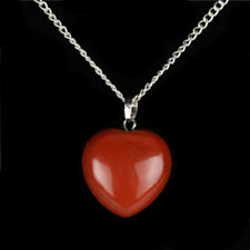 """925 Sterling Silver Red Magma Heart Pendant on 18"""" Chain Made with Natural Stone"""