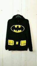 BATMAN FULL ZIP HOODIE BLACK AND YELLOW SMALL L/S WITH MASK IN HOOD
