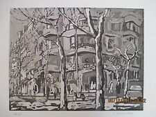 "Japanese ""City Street"" B/W Watercolor Limited Print - Signed Senna Uimowa"