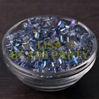 25pcs 6mm Cube Square Faceted Crystal Glass Charms Loose Spacer Beads Clear Blue