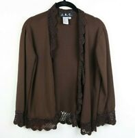 JAC Womens Cardigan Crochet Lace Trim Open Front 3/4 Sleeve Brown Size Small EUC