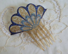 Antique Victorian Vintage Best Hold Celluloid Hair Comb Mantilla Blue Rhinestone
