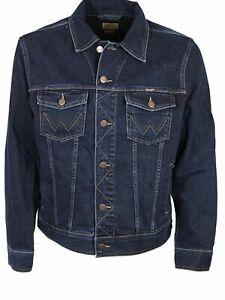 Wrangler Denim Jacket Mens Dark Stone Wash Casual Sizes S M L XL 2XL 3XL 4XL