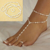 Women Pearl Barefoot Sandal Anklet Foot Chain Toe Ring Beach Ankle Bracelet Set