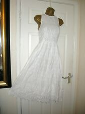 8 TALL ASOS WHITE BRODERIE ANGLAISE MIDI DRESS HALTER PARTY WEDDING SUMMER HOLS