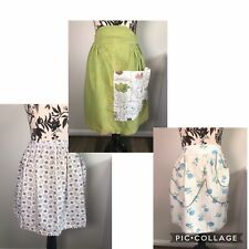 New listing Vintage Half Aprons 3 Avacado Olive Quirky Cooking Blue Roses Pink Paisley