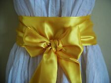 "3.5x100"" YELLOW SATIN FABRIC SASH BELT SELF TIE BOW for PROM PARTY FANCY DRESS"