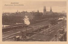 NETHERLANDS CENTRAL TRAIN STATION & CONTROL BOX SEPIA TONED POSTCARD