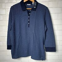 NWOT IZOD Womens Blue Navy Striped Collar Long Sleeve Shirt Nautical