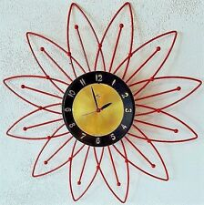 Vintage Mid Century Modern Atomic Sunburst Electric Starburst Lux Wall Clock MCM