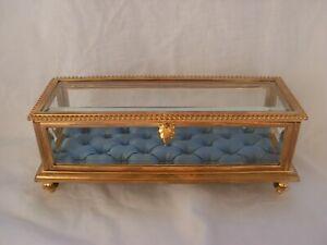 ANTIQUE FRENCH GILT BRONZE BEVELED GLASS JEWEL BOX,LATE 19th CENTURY.