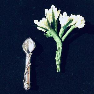 Sterling Silver Poirot posy flower holder pin vase Brooch groom gents gift boxed