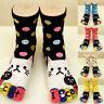 1 Pair Womens Cute Cartoon Cat Animals Five Fingers Toe Ankle Long Cotton Socks