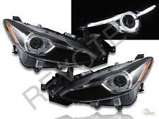 2014-2016 Mazda 3 Sedan 4 Door Black LED Bar Halo Projector Headlights RH + LH