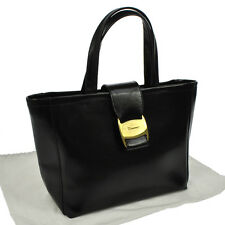 Authentic Salvatore Ferragamo Vara Hand Tote Bag BK Leather Vintage GHW V13909