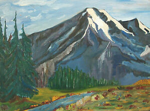 Folk Art Mountain Landscape Painting - Initialed & Dated - Canada - Mid 20th C.