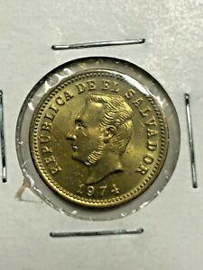 1974 El Salvador Uncirculated 3 Centavos Foreign Coin  #382