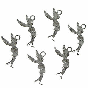 20 Silver Plated Fairy Tibetan Metal Charms 15x25mm Jewellery Making Pendants