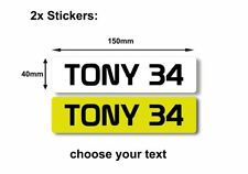 2x STICKER PERSONALISED plates for kids cars size 150x40mm uk