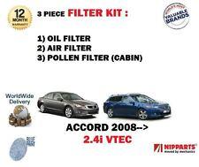 Per HONDA ACCORD 2.4i VTEC 2008 - > KIT Di Servizio Olio Aria Polline 3 KIT FILTRO