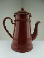 Vintage französiche kleine alte antike Email Metall Teekanne mit Teesieb